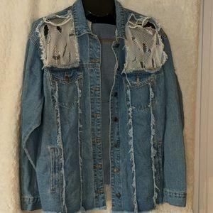 Fashion Nova Distressed Jean Jacket - Size Medium